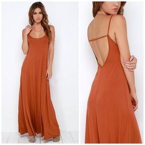 LuLu's Burnt Orange Low Back Flowy Maxi Dress